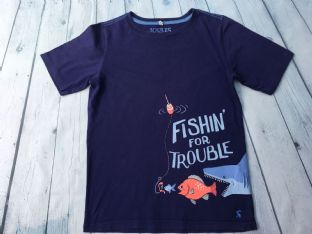 Joules navy blue shark tshirt age 11-12
